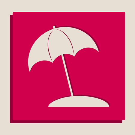 version: Umbrella and sun lounger sign. Vector. Grayscale version of Popart-style icon.