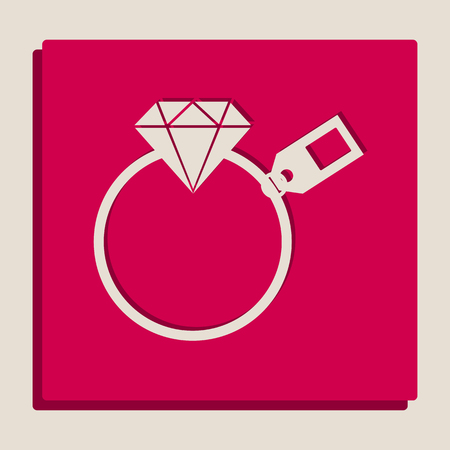 Diamond sign with tag. Vector. Grayscale version of Popart-style icon. Illustration