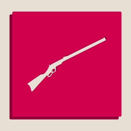 Hunting rifle icon vector illustration. Silhouette gun. Vector. Grayscale version of Popart-style icon. Illustration