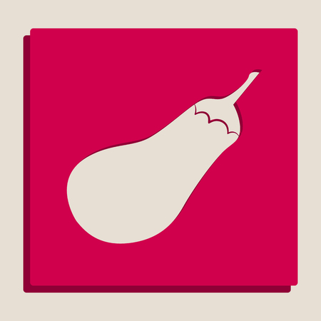 petiole: Eggplant sign. Salad ingredient. Healthy vegetable. Vector. Grayscale version of Popart-style icon. Illustration