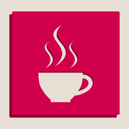 Cup sign with three small streams of smoke. Vector. Grayscale version of Popart-style icon. Illustration
