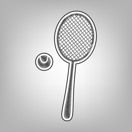 Tennis racquet with ball sign. Vector. Pencil sketch imitation. Dark gray scribble icon with dark gray outer contour at a gray background. Illustration
