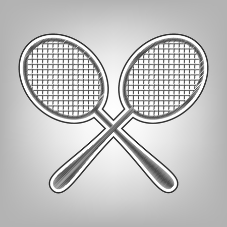 Two tennis racket sign. Vector. Pencil sketch imitation. Dark gray scribble icon with dark gray outer contour at gray background.