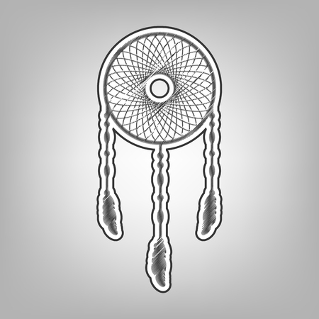 fasten: Dream catcher sign. Vector. Pencil sketch imitation. Dark gray scribble icon with dark gray outer contour at gray background. Illustration