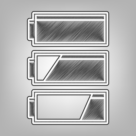 indicator panel: Set of battery charge level indicators. Vector. Pencil sketch imitation. Dark gray scribble icon with dark gray outer contour at gray background.