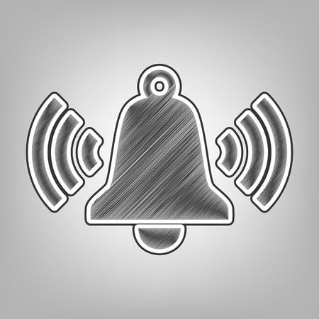 Ringing bell icon. Vector. Pencil sketch imitation. Dark gray scribble icon with dark gray outer contour at gray background.