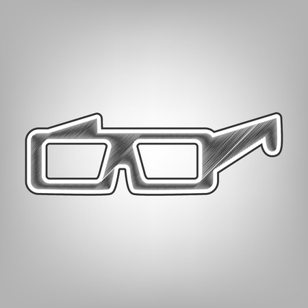 eyewear: Modern glass sign. Vector. Pencil sketch imitation. Dark gray scribble icon with dark gray outer contour at gray background.