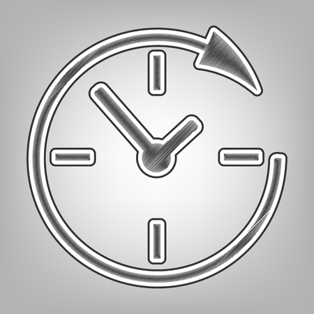 around the clock: Service and support for customers around the clock and 24 hours. Vector. Pencil sketch imitation. Dark gray scribble icon with dark gray outer contour at gray background.