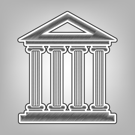 roman column: Historical building illustration. Vector. Pencil sketch imitation. Dark gray scribble icon with dark gray outer contour at gray background.