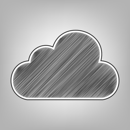 Cloud sign illustration. Vector. Pencil sketch imitation. Dark gray scribble icon with dark gray outer contour at gray background.