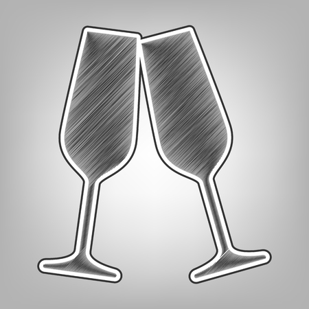 Sparkling champagne glasses. Vector. Pencil sketch imitation. Dark gray scribble icon with dark gray outer contour at gray background.