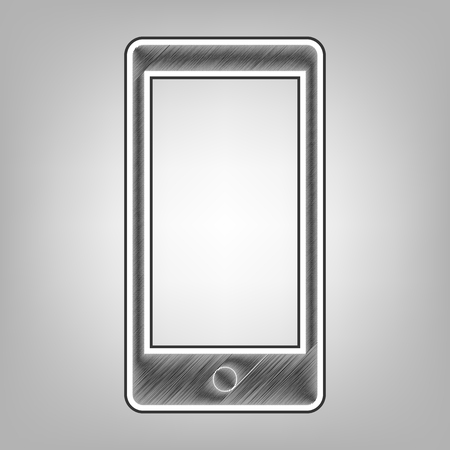 respond: Abstract style modern gadget with blank screen. Template for any content. Vector. Pencil sketch imitation. Dark gray scribble icon with dark gray outer contour at gray background.