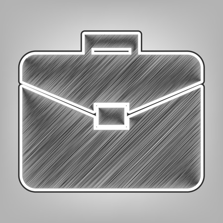 Briefcase sign illustration. Vector. Pencil sketch imitation. Dark gray scribble icon with dark gray outer contour at gray background.