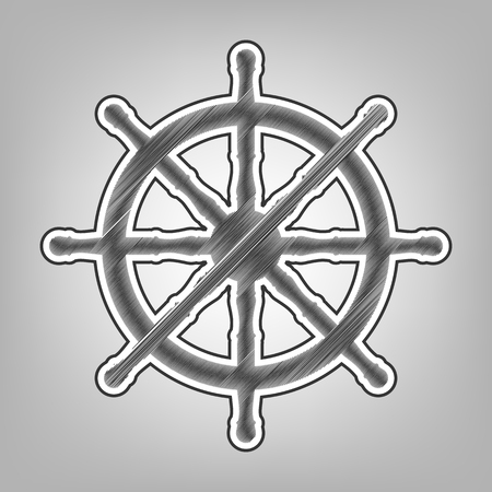 Ship wheel sign. Vector. Pencil sketch imitation. Dark gray scribble icon with dark gray outer contour at gray background.