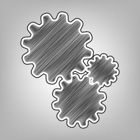 gearwheels: Settings sign illustration. Vector. Pencil sketch imitation. Dark gray scribble icon with dark gray outer contour at gray background.