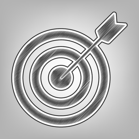 effectiveness: Target with dart. Vector. Pencil sketch imitation. Dark gray scribble icon with dark gray outer contour at gray background.