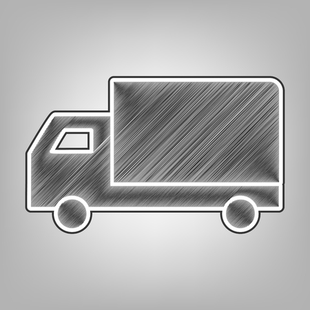 Delivery sign illustration. Vector. Pencil sketch imitation. Dark gray scribble icon with dark gray outer contour at gray background. Ilustração