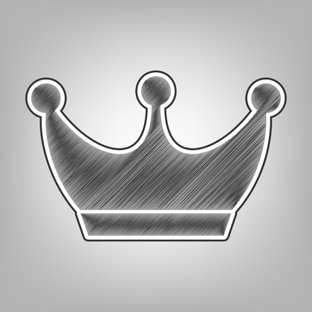 King crown sign. Vector. Pencil sketch imitation. Dark gray scribble icon with dark gray outer contour at gray background.
