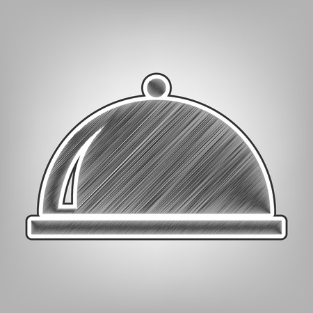 Server sign illustration. Vector. Pencil sketch imitation. Dark gray scribble icon with dark gray outer contour at gray background.