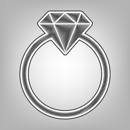 gemstone: Diamond sign illustration. Vector. Pencil sketch imitation. Dark gray scribble icon with dark gray outer contour at gray background. Illustration