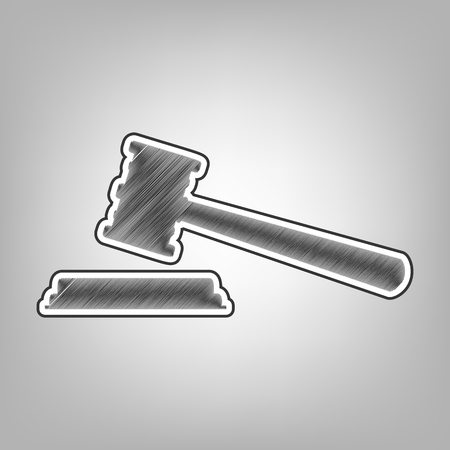 Justice hammer sign. Vector. Pencil sketch imitation. Dark gray scribble icon with dark gray outer contour at gray background. Illustration