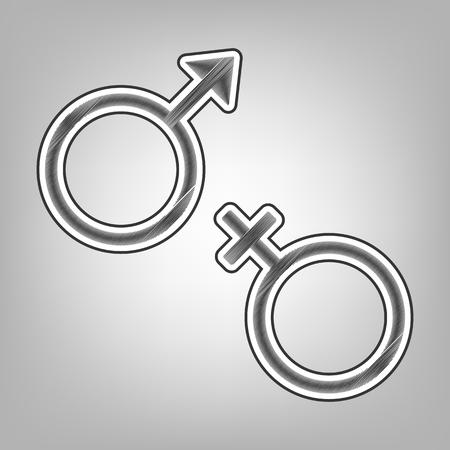 セックス シンボル サイン。ベクトル。鉛筆スケッチの模倣。灰色の背景に暗い灰色の輪郭と暗い灰色落書きアイコン。