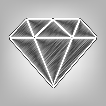 Diamond sign illustration. Vector. Pencil sketch imitation. Dark gray scribble icon with dark gray outer contour at gray background. Illustration