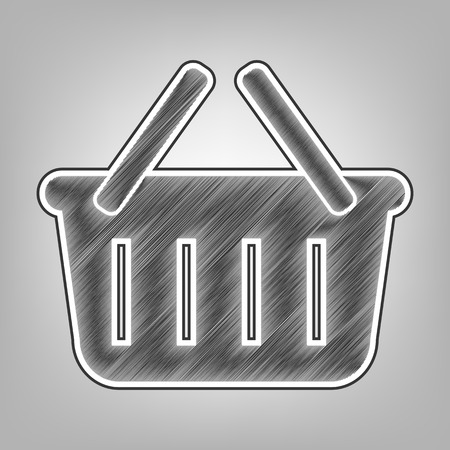 Shopping basket sign. Vector. Pencil sketch imitation. Dark gray scribble icon with dark gray outer contour at gray background.