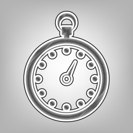 finishing: Stopwatch sign illustration. Vector. Pencil sketch imitation. Dark gray scribble icon with dark gray outer contour at gray background. Illustration