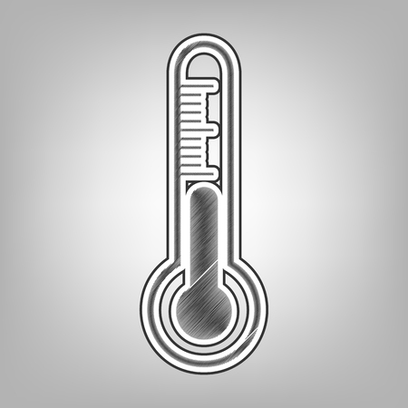 Meteo diagnostic technology thermometer sign. Vector. Pencil sketch imitation. Dark gray scribble icon with dark gray outer contour at gray background.