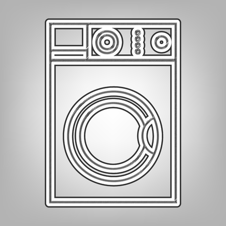 cleanliness: Washing machine sign. Vector. Pencil sketch imitation. Dark gray scribble icon with dark gray outer contour at gray background. Illustration