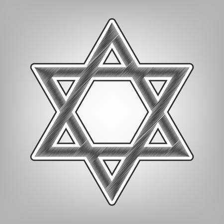 Shield Magen David Star. Symbol of Israel. Vector. Pencil sketch imitation. Dark gray scribble icon with dark gray outer contour at gray background.