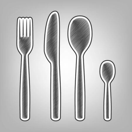 silver: Fork spoon and knife sign. Vector. Pencil sketch imitation. Dark gray scribble icon with dark gray outer contour at gray background.