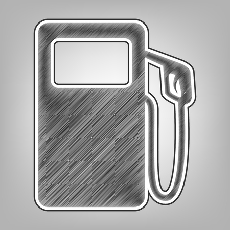 Gas pump sign. Vector. Pencil sketch imitation. Dark gray scribble icon with dark gray outer contour at gray background. Illustration