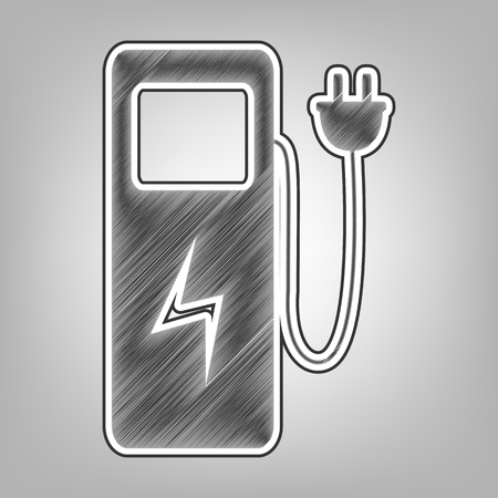 rechargeable: Electric car charging station sign. Vector. Pencil sketch imitation. Dark gray scribble icon with dark gray outer contour at gray background.