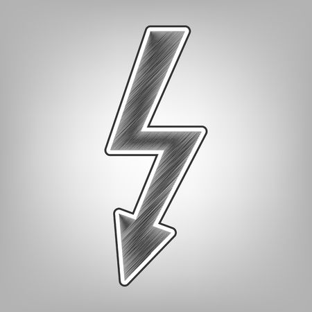 volte: High voltage danger sign. Vector. Pencil sketch imitation. Dark gray scribble icon with dark gray outer contour at gray background.