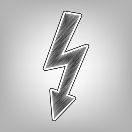 High voltage danger sign. Vector. Pencil sketch imitation. Dark gray scribble icon with dark gray outer contour at gray background.