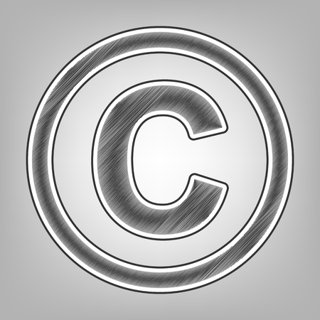 duplication: Copyright sign illustration. Vector. Pencil sketch imitation. Dark gray scribble icon with dark gray outer contour at gray background. Illustration