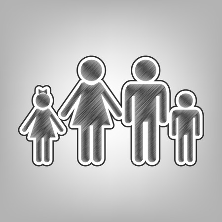Family sign illustration. Vector. Pencil sketch imitation. Dark gray scribble icon with dark gray outer contour at gray background.