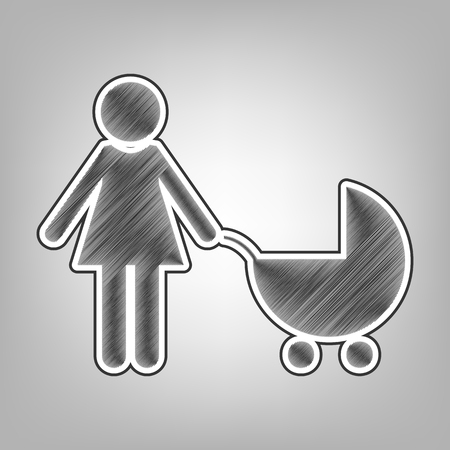 baby and mother: Family sign illustration. Vector. Pencil sketch imitation. Dark gray scribble icon with dark gray outer contour at gray background.