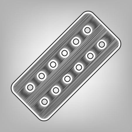 indicate: Medical Pills sign. Vector. Pencil sketch imitation. Dark gray scribble icon with dark gray outer contour at gray background.
