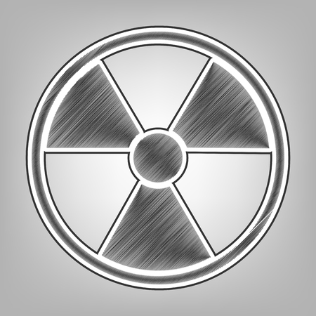 Radiation Round sign. Vector. Pencil sketch imitation. Dark gray scribble icon with dark gray outer contour at gray background. Illustration