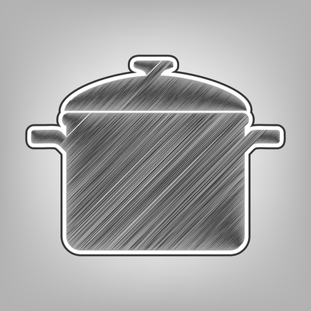 Cooking pan sign. Vector. Pencil sketch imitation. Dark gray scribble icon with dark gray outer contour at gray background.