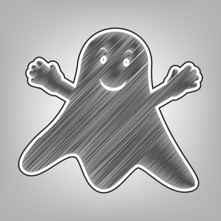phantom: Ghost sign. Vector. Pencil sketch imitation. Dark gray scribble icon with dark gray outer contour at gray background. Illustration