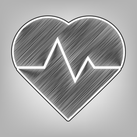 emergency cart: Heartbeat sign illustration. Vector. Pencil sketch imitation. Dark gray scribble icon with dark gray outer contour at gray background. Illustration