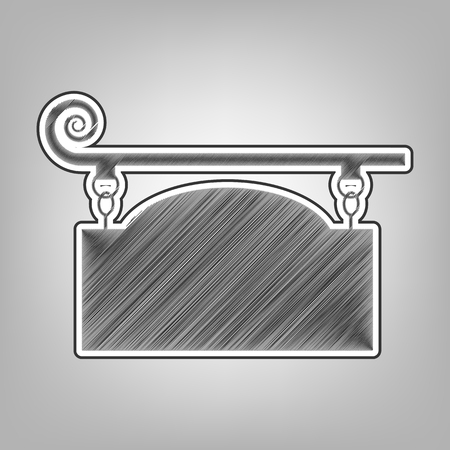 forge: Wrought iron sign for old-fashioned design. Vector. Pencil sketch imitation. Dark gray scribble icon with dark gray outer contour at gray background.