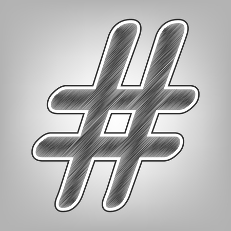 Hashtag sign illustration. Vector. Pencil sketch imitation. Dark gray scribble icon with dark gray outer contour at gray background.