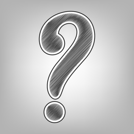 queries: Question mark sign. Vector. Pencil sketch imitation. Dark gray scribble icon with dark gray outer contour at gray background.