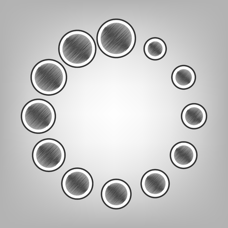 uploading: Circular loading sign. Vector. Pencil sketch imitation. Dark gray scribble icon with dark gray outer contour at gray background.