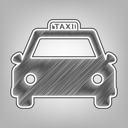 silver: Taxi sign illustration. Vector. Pencil sketch imitation. Dark gray scribble icon with dark gray outer contour at gray background.